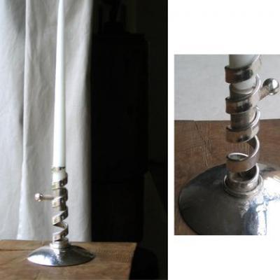 Bougeoir métal argenté  Design AB2