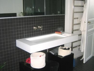 Salle de bain carreau porphyre 5X5